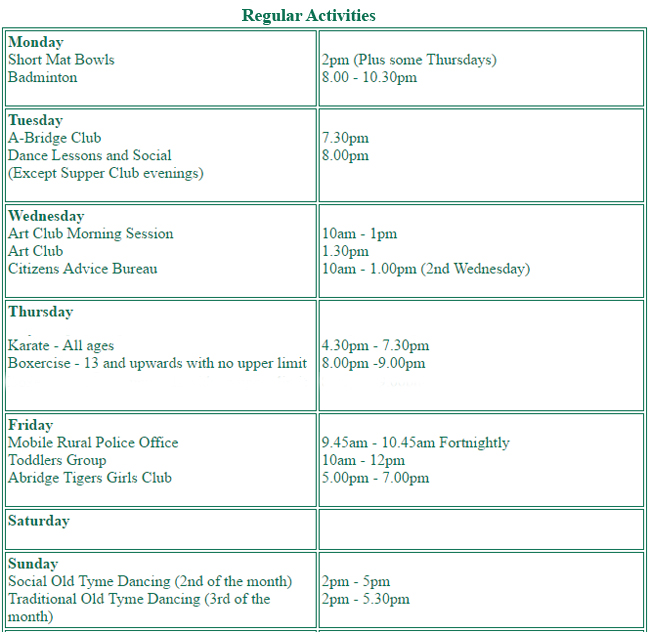 Activities at Abridge Village Hall
